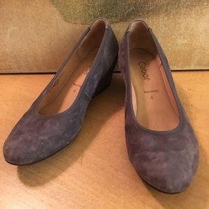 Gabor Taupe Suede Wedge Shoes 4
